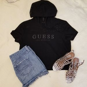 Black short sleeve, hooded guess shirt. Medium